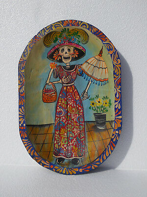 Painted Wood Dough Bowl with day of the dead mexican folk art scene - batea punt