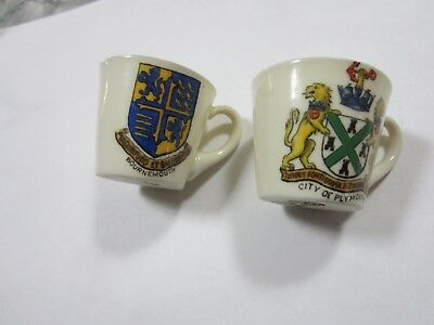 VINTAGE miniature CRESTED CHINA TEA CUPS W H GOSS England Bournemouth Plymouth
