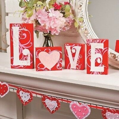 KNLSTORE Love Blocks Wooden V-day Gift Table Top Decoration Home Accent Red Pink