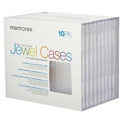 Memorex Standard CD Jewel Cases 10 Pack Clear, New CD DVD Cases