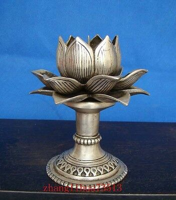 Handmade Statue Copper Silver Candlestick Lotus