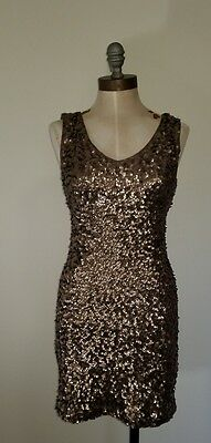 AMBER BLUE Women's Dress Sz S Sleeveless Cocktail Holiday Sequin Bodycon Vneck