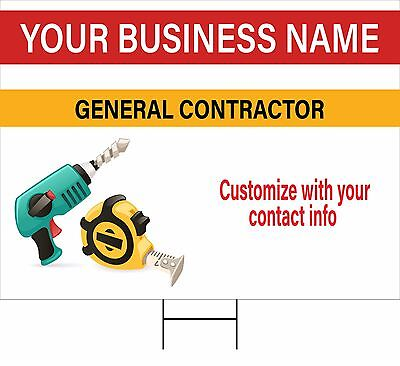 Custom Contractor Site Signs, Corrugated Plastic 2- Sided, 6 Pack, Free shipping
