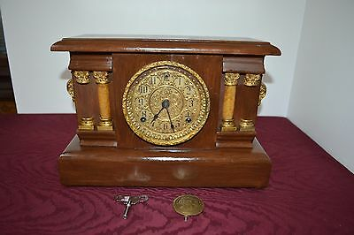 Antique 1913 Sessions Black Mantle Shelf Clock with Pendulum and Key Working
