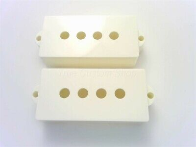 True Custom Shop® White Bridge & Neck Pickup Covers for Fender Precision Bass