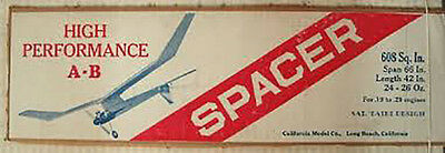 """Model Airplane Plans (FF): Vintage SPACER A-B 66""""ws by Sal Taibi (1950s)"""
