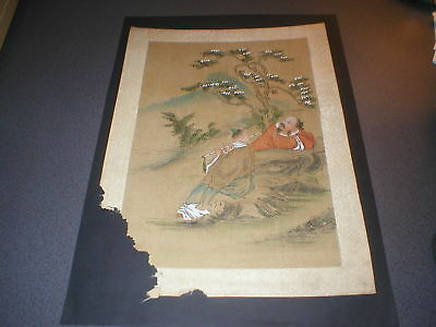 Vintage Japanese Watercolour Painting, Original, on Woven Paper, playing flute