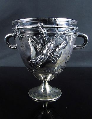 Rare Antique French Lobster Metal Silver Bronze Art Vase Signed Jean-Pierr Auger