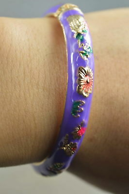 Collectable Handmade Cloisonne Carve Delicate Flower Fashion Lucky Rare Bracelet