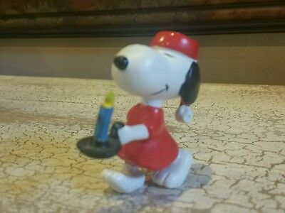 Peanuts Snoopy PVC toy Snoopy wearing night shirt and Cap.  EUC