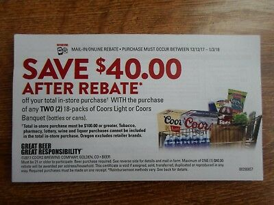 $40.00  Coors Beer Rebate Form --  Good In -- Id, Mt, Or, Wy -- Exp.1-3-18