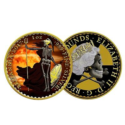 2017 BRITANNIA 'Armageddon' Skeletal Nuke 1oz Silver coin £2 Gold 'like Eagle'