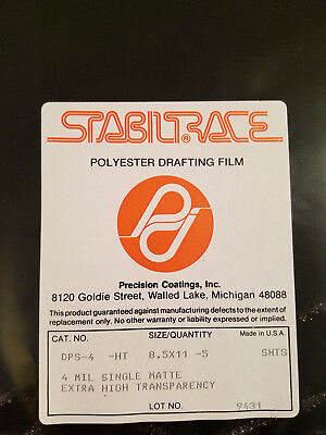 5 Sheets Polyester Drafting Film, Sealed New, 4mil single matte Xtrahigh transpa