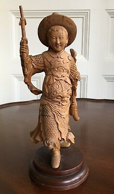 Oriental Carved Wood Figure, Qing, 19th Or Early 20th Century. 23cm High.