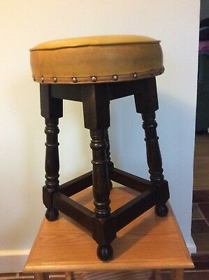 Vintage Round Vinyl Studded Top Low Bar Stool With Oak Legs