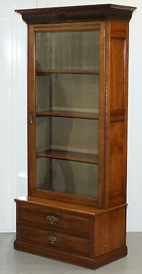 Stunning Large Solid Mahogany Victorian Bookcase With Glazed Door & Twin Drawers