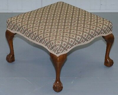 Large Walnut Framed Victorian Footstool With Cabriole Claw And Ball Legs Feet