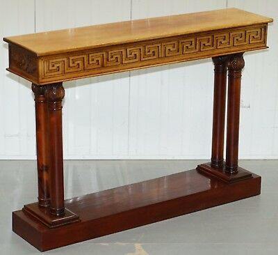 Vintage Mahogany Hand Carved Corinthian Pillared Console Table Stunning Detail