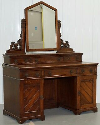Beautiful Solid Oak Victorian Dressing Table With Campaign Drawers Built In