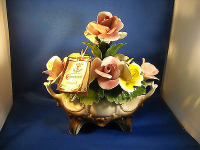 Capodimonte Yellow&pink~ Oblong Vase W/handles  Crown Nuova Made In Italy W/ Tag
