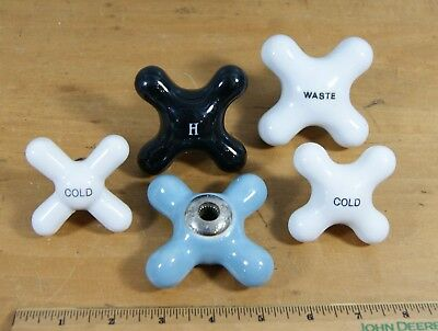 Lot of 5 Assorted Vintage Porcelain Tub/Faucet Handles Marked Hot & Cold, S-2719