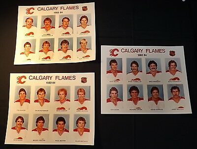 Calgary Flames 1983-84 Team Players Official Photos.- 34 years ago. (Group of 3)