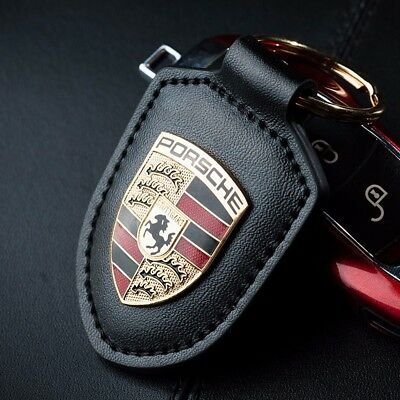 Porsche Crest Leather Key Chain Ring 911 Panamema Boxster Cayman Macan Cayenne
