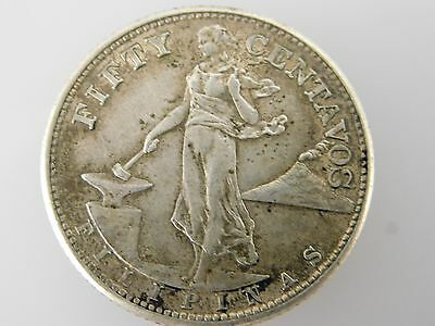 1945 Philippines 50 Fifty Centavos Silver Coin
