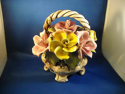 Capodimonte Large Yellow & Pink Flower Basket W/ Legs Crown Nuova Made In Italy