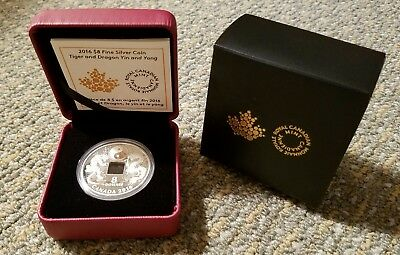 2016 $8 Fine Silver Coin Tiger and Dragon Yin Yang Royal Canadian Mint Square