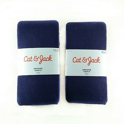 Cat & Jack Girls Footed Sweater Tights NAVY BLUE 2 Pair Lot Size 12 13 14 TWINS