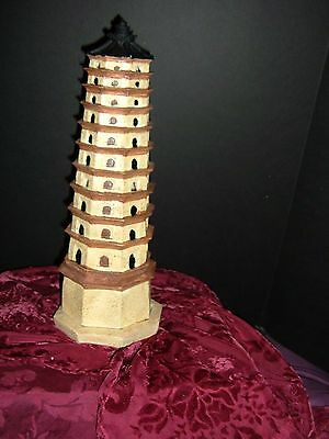 "Pagoda Tower Resin Incense Smoker 14"" X 5"" New Pg1 Boxed"