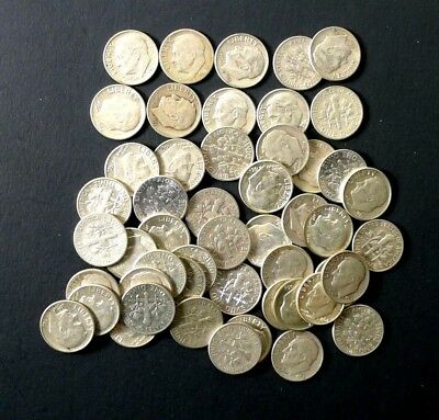 one (1)    Roll 50 Coins Roosevelt Dimes Junk 90% Silver coins