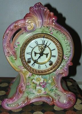 OUTSTANDING ANTIQUE Porcelain ROYAL BONN Clock ANSONIA Big! WILD ROSES