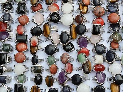 Wholesale lots jewelry 20pcs Big assorted Natural Gemstone Stone Silver P Rings
