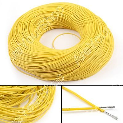 5M Flexible Stranded Silicone Rubber Wire Cable 22AWG Gauge OD 1.7mm Yellow BS5