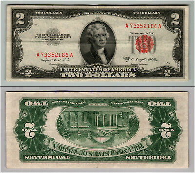 1953B $2 Dollar Bill Old Us Note Legal Tender Paper Money Currency Red Seal W696