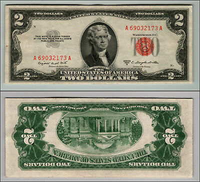 1953B $2 Dollar Bill Old Us Note Legal Tender Paper Money Currency Red Seal W697