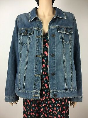 Old Navy denim jean jacket medium blue wash plain basic womens maternity L 12 14