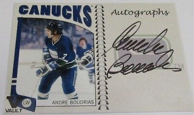 2004-05 In The Game NHL Franchises Series Andre Boudrias AUTOGRAPHED Hockey Card