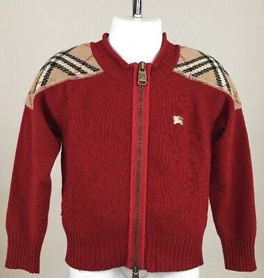 Burberry Boy's Wool Cashmere Blend Cardigan Sweater Sz 4Y