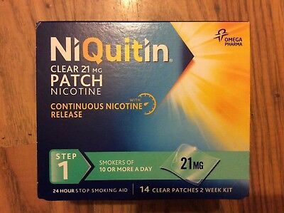 NiQuitin 21mg 14 Clear Patch Step 1  £14 You Won't Find Cheaper Freepost Genuine