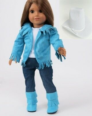 "Doll Clothes 18"" Western Teal Suede Outfit 5 Piece Fits American Girl"