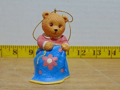 1996 Avon Hobby Bear Ornament Sewing New In Box