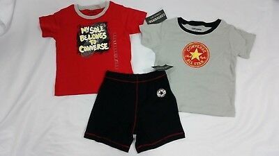 NWT Converse Baby Set Baby Boys 3-Piece Shirts and Shorts Size 24 months $50