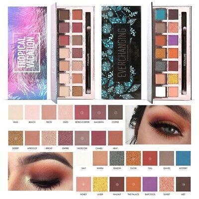14 Earth Color Waterproof Matte Shimmer Eyeshadow Palette With Brush Focallure