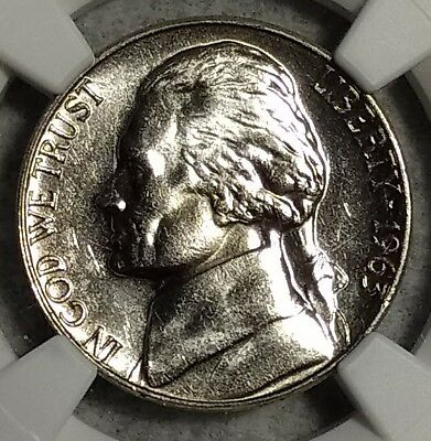NGC MS-65 5FS 1963-P Jefferson Nickel! Hard to w/ Full steps and proof like!