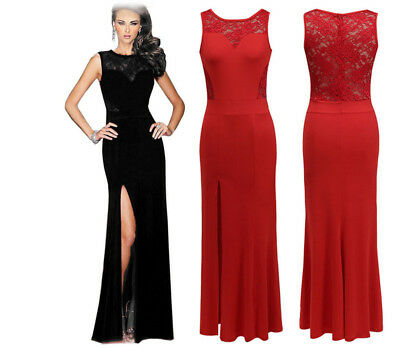 America Womens Lace Sleeveless Prom Evening Bridesmaid Cocktail Party Long Dress