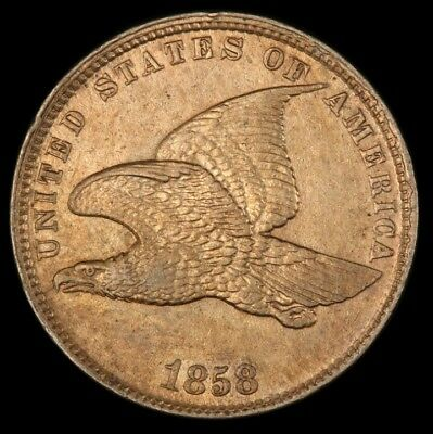 1858 1C Small Letters Flying Eagle Cent PCGS AU-55 Obverse & Reverse Cud Snow 10