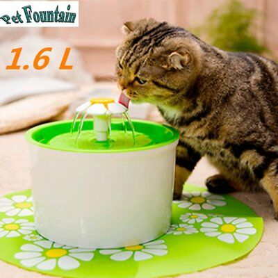 Flower Automatic Electric Pet Cat Dog Water Drinking Fountain Bowl Filter 1.6L